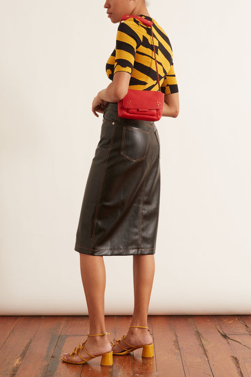Button Front Faux Leather Midi Skirt in Black