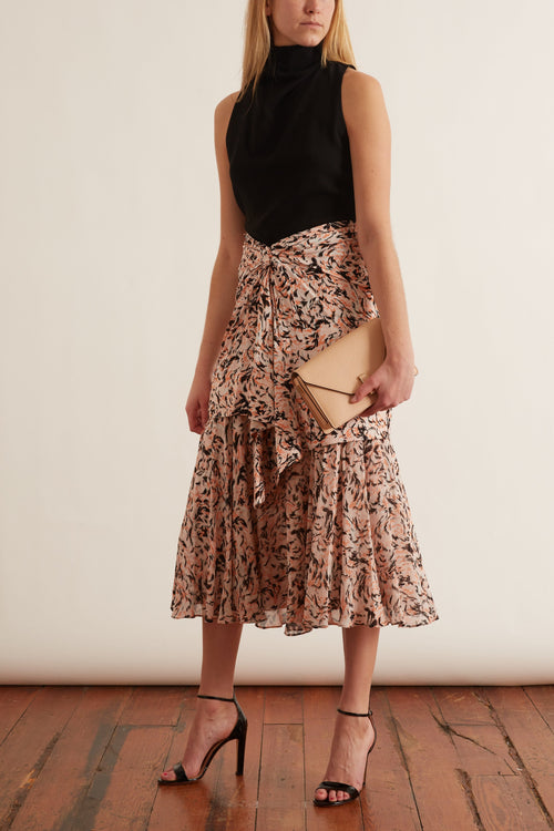 Chiffon Layered Skirt in Coral/Black Abstract Animal