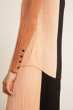 Plisse Button Front Top in Cinnamon/Peach/Black