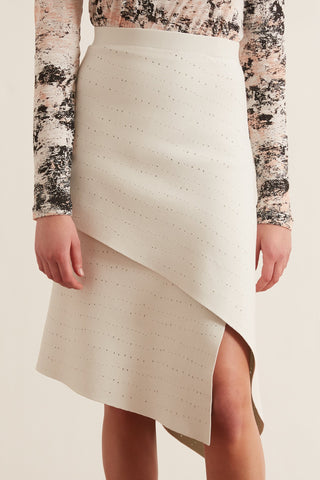 Pointelle Knit Skirt in Off White/Mint