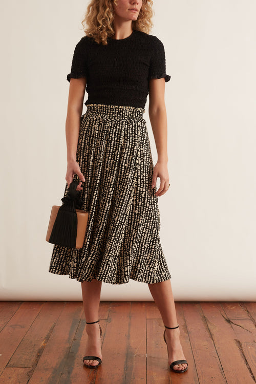 Printed Georgette Pleated Skirt in Black/Ecru Inky Dot