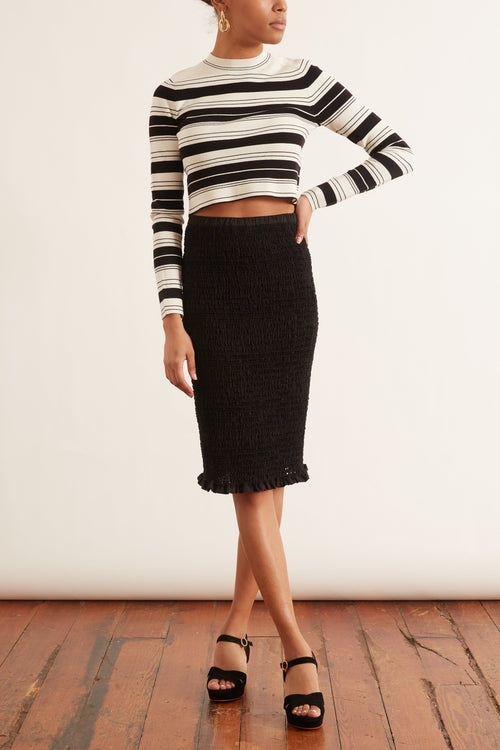 Smocked Skirt in Black