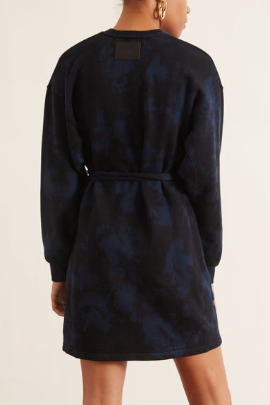 Sweatshirt Dress in Indigo/Black Ink Blotch