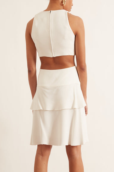 Viscose Crepe Sleeveless Cut Out Dress in Off White
