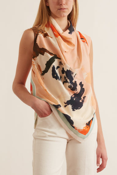 Printed Marocaine Sleeveless Cowl Neck Top in Pink/Jade Abstract