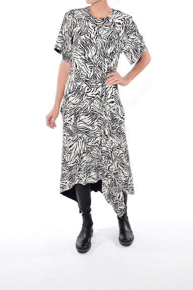 Short Sleeve Draped Dress in Vanilla/Black Animal