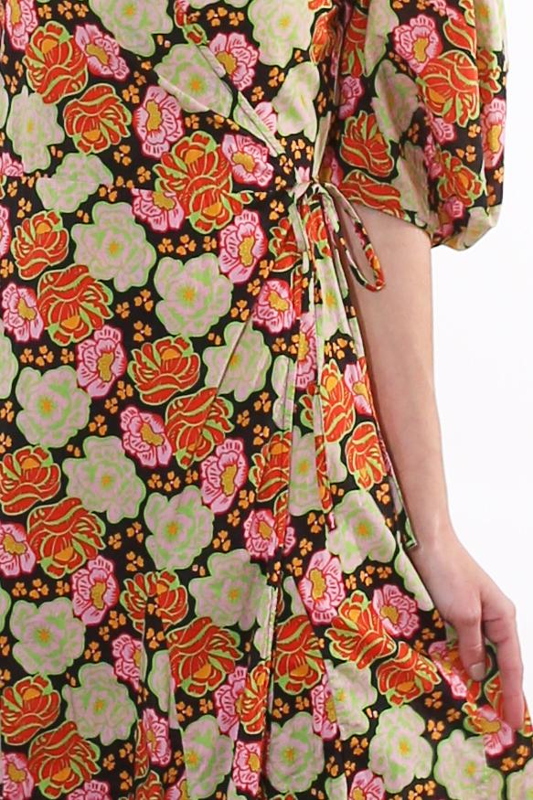 Sophisticated Puff Sleeves Sleeves Abstract Print Fall Cotton Wrap Tie Waist Waistline Dress With Ruffles