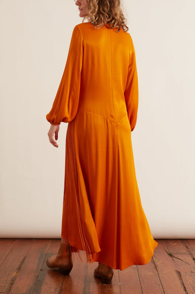 Majorelle Fringe Dress in Clementine