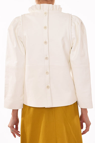 Lydia Leather Blouse in White