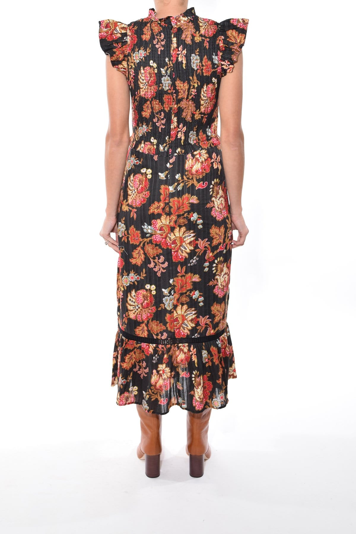 Flutter Sleeves Fitted Shirred Paisley Print Midi Dress