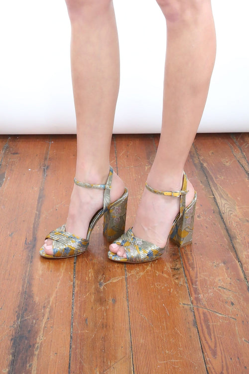 Kali Bis Heel in Tropical Yellow Jacquard