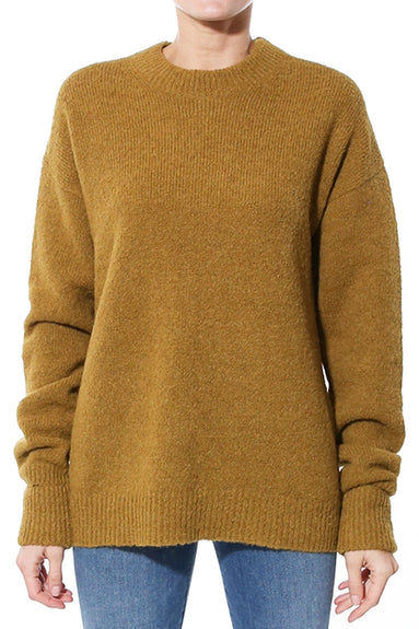 Airy Alpaca Crewneck Pullover with Arm Band in Copper
