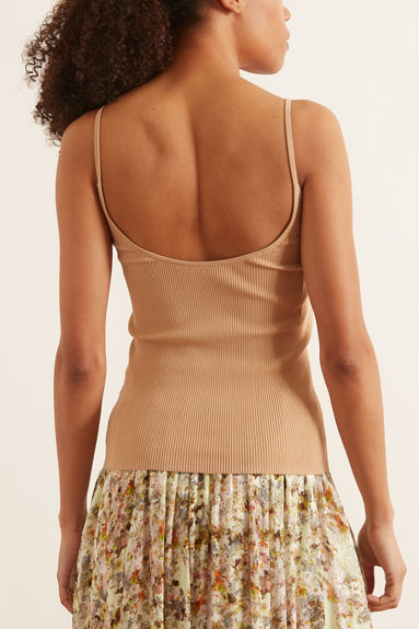 Giselle Stretch Sweater Ribbed Cami in Latte