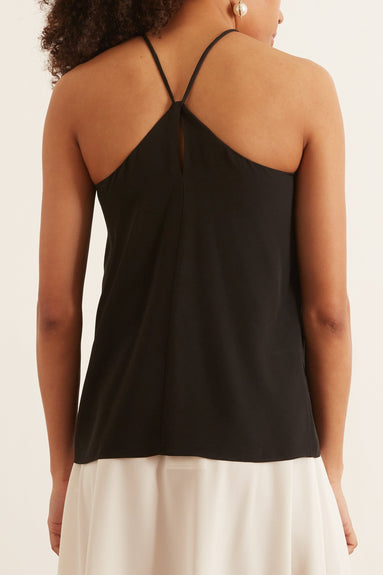 Solid Silk Halter Top in Black