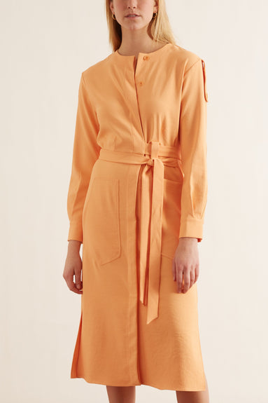 Chalky Drape Cargo Shirtdress in Melon