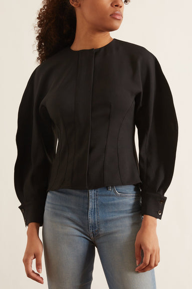 Chalky Drape Corset Top in Black