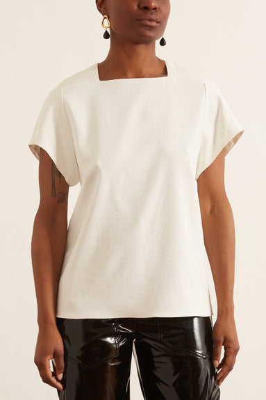 Chalky Drape Square Neck Top in Ivory