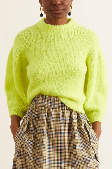 Cozette Alpaca Cropped Pullover in Lemon Yellow