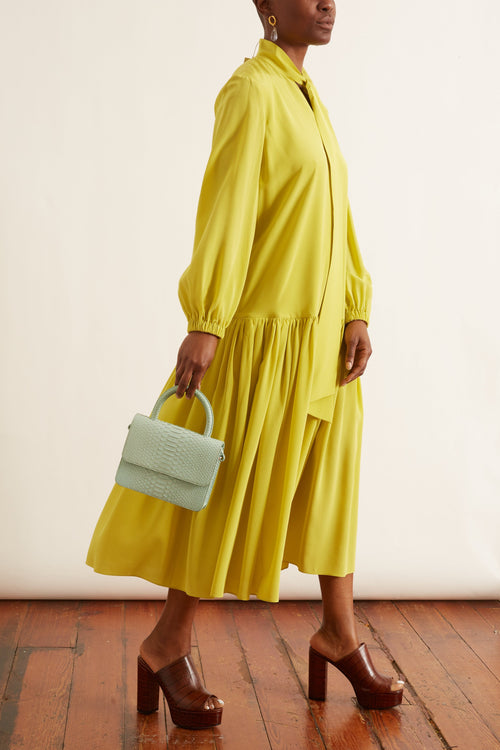 Heavy Silk Drop Waist Dress in Lime Yellow
