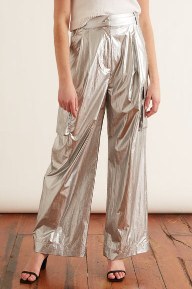 Metallic Nylon Pleated Cargo Pant in Silver