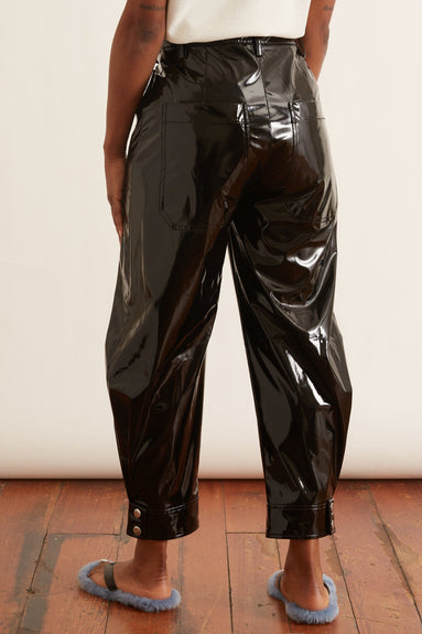 Patent Sculpted Pant in Black