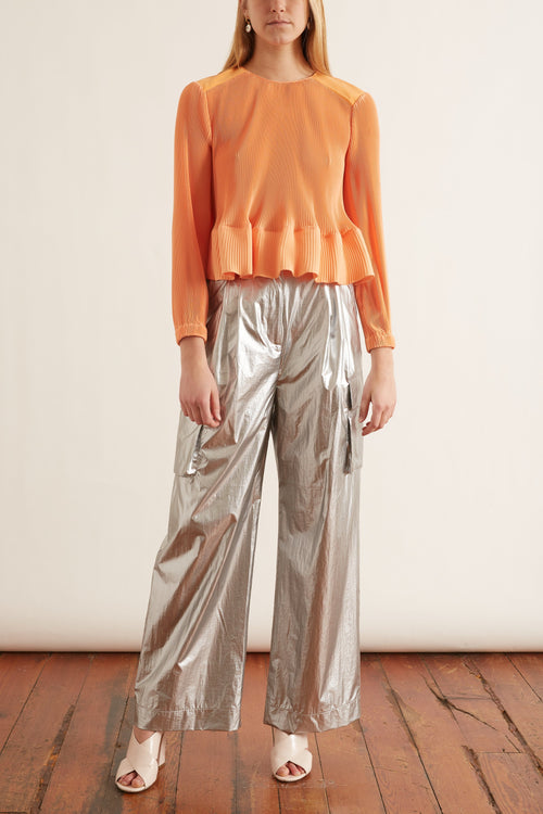 Pleating Long Sleeve Top in Melon