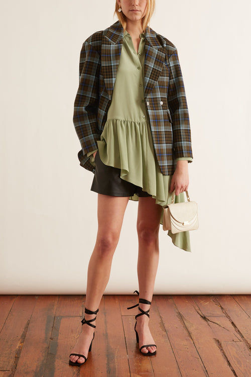 Spencer Plaid Sculpted Blazer in Army Green