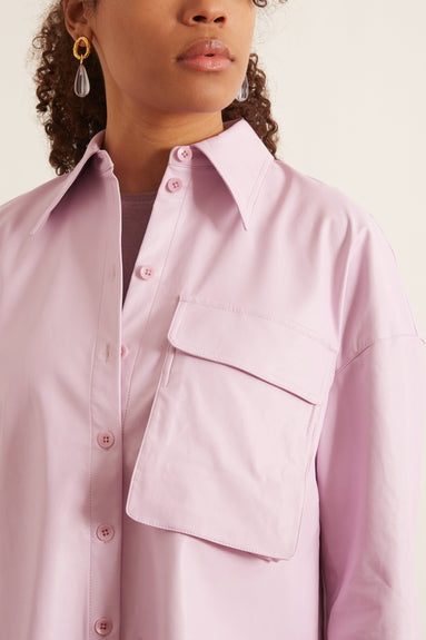 Tissue Faux Leather Relaxed Utility Blouse in Purply Pink