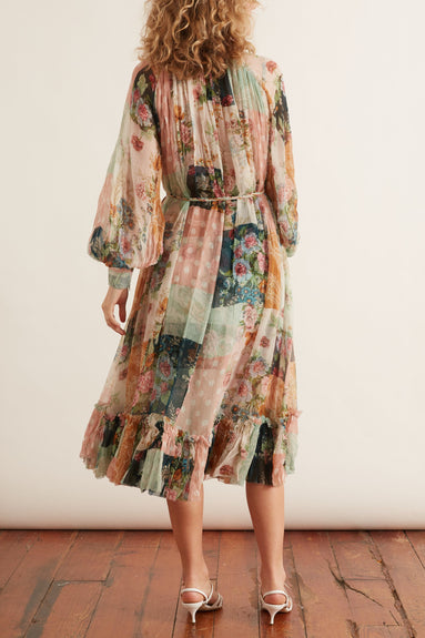 Wavelength Smock Midi Dress in Patchwork Floral