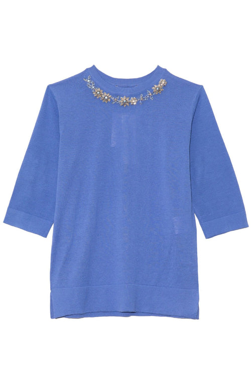 Knit Top with Jeweled Neckline in Blue