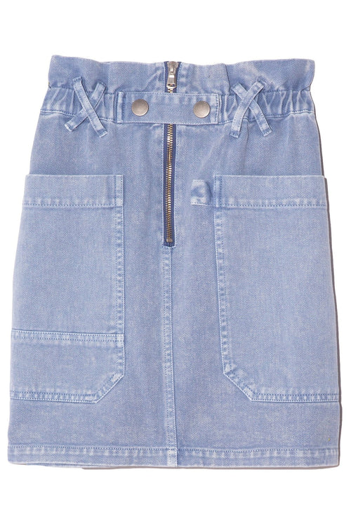 Idun Denim Short Skirt in Pacific