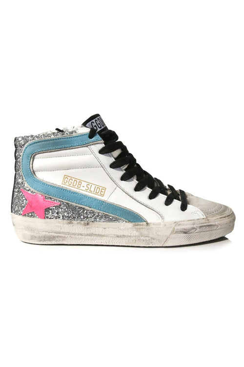 Slide Sneakers in White Leather/Silver Glitter/Fuxia Star