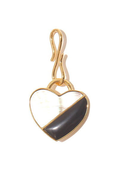 Porto Pendant in Black and Abalone Heart