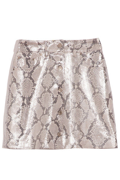 Sadie Mini Skirt in Silver Python