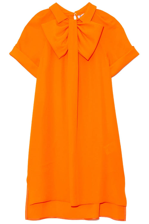 Tie Neck Tunic Dress in Orange