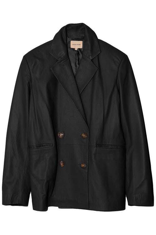 Davao Leather Blazer in Black