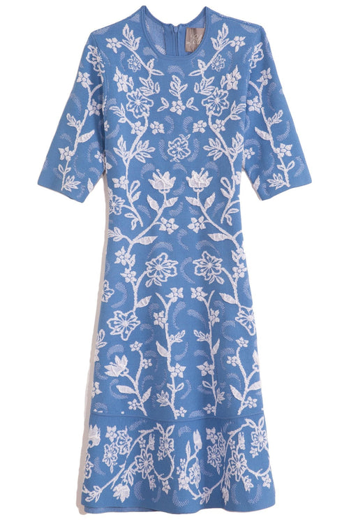 Flare Hem Dress in Cornflower Blue/Ivory