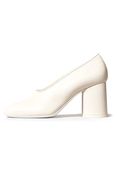 Block Heel Pump in Ivory