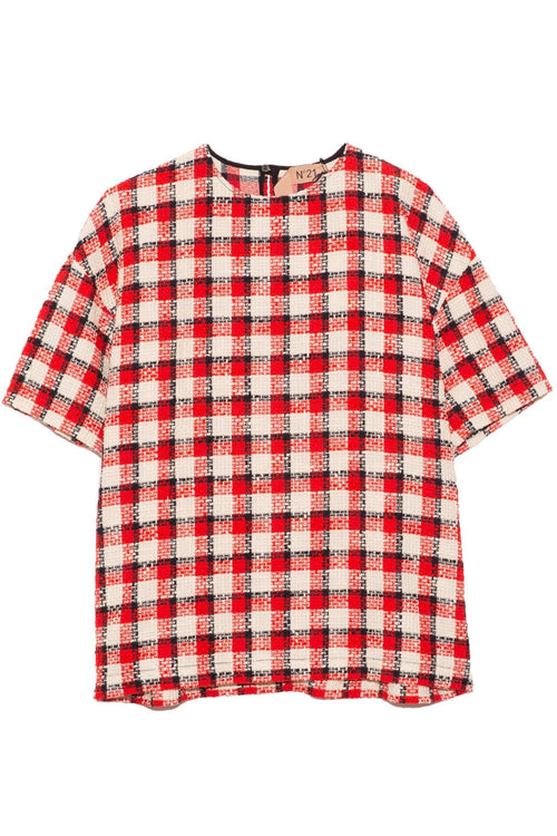 Plaid Boxy Top in White/Red