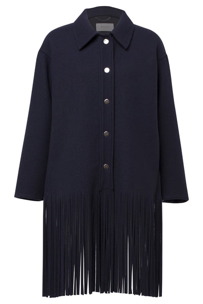 All About Fringe Coat in Dark Navy