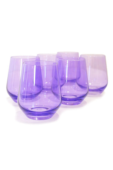 Colored Stemless Wine Glasses in Lavender - Set of 6