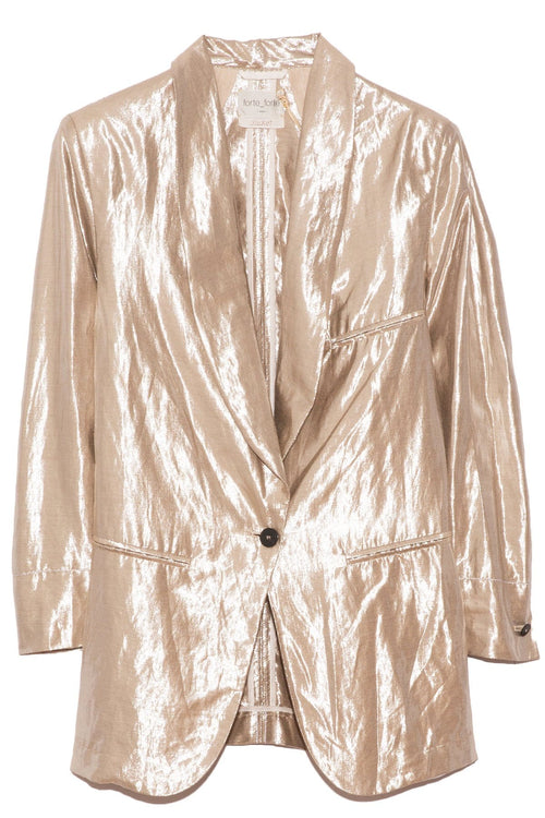 Lurex Linen Viscose Jacket in Mother of Pearl