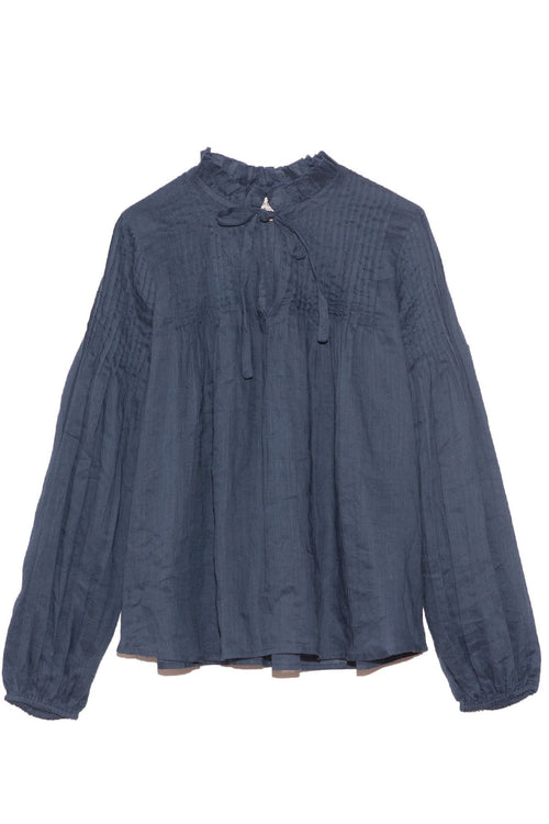 Hattie Ramie Pintuck Blouse in Marine