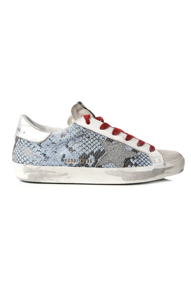 Superstar Sneakers in Light Blue Python/Silver Glitter Star