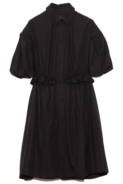 Twisted Hip Shirt Dress in Black