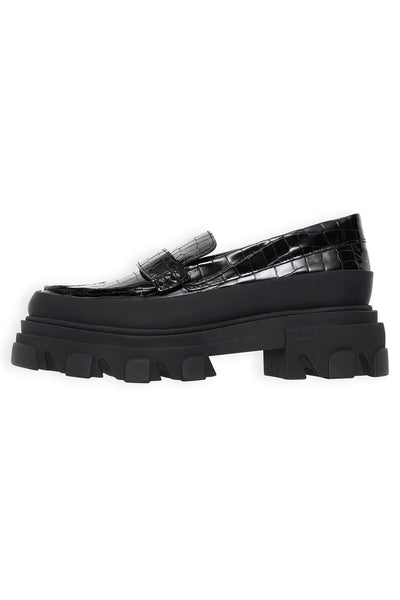 Belly Croc Mule in Black
