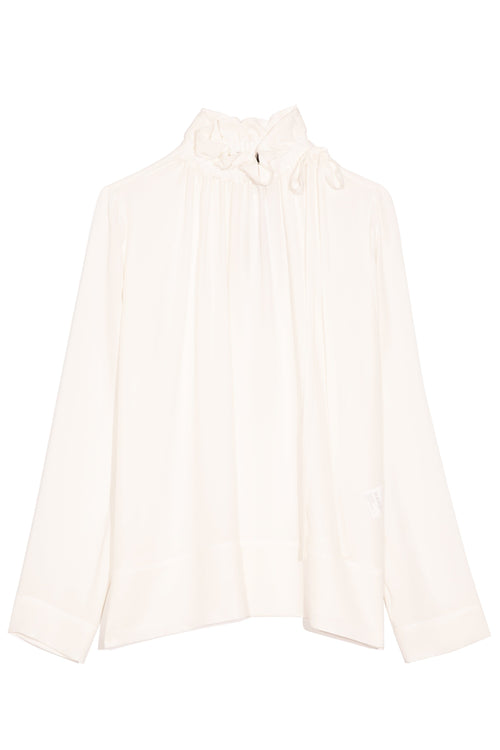 Ruffled Neck Silk Top in Off White