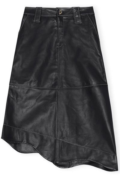 Lamb Leather Asymmetrical Skirt in Black