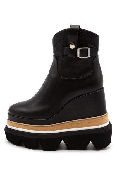 Leather Short Wedge Boot in Black