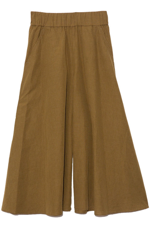 Wide Leg Micro Check Linen Pant in Military Green